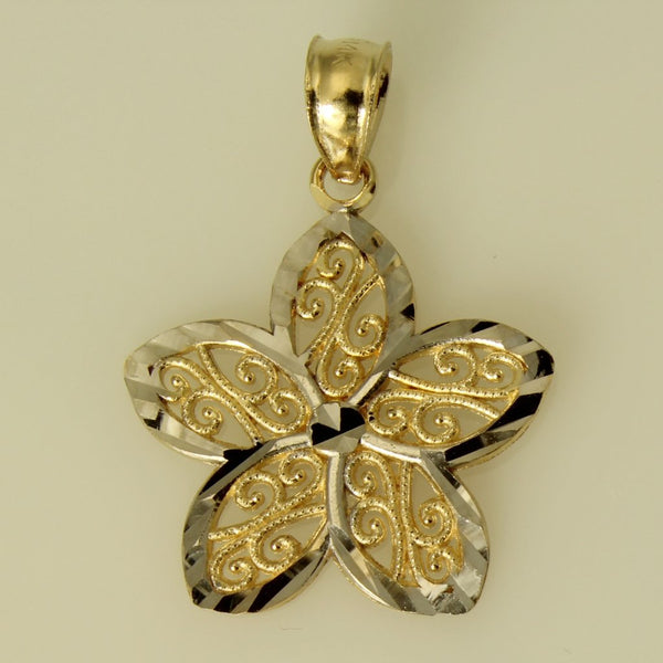 14K Real 2 Tone Yellow and White Gold Diamond Cut Flower Small Charm Pendant