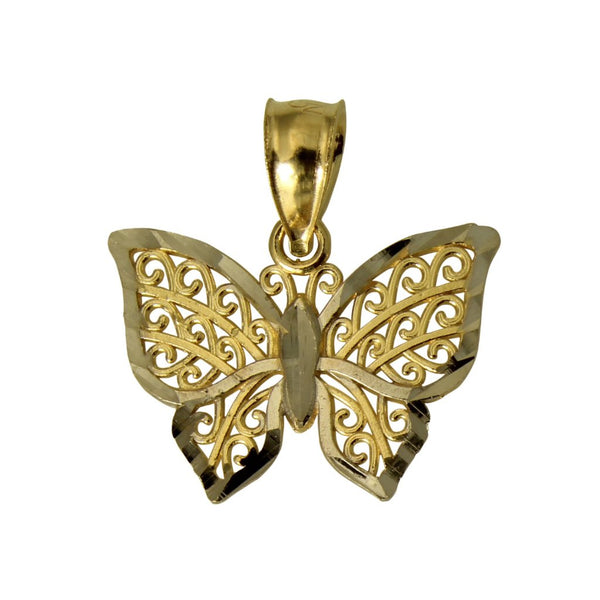 14K Real 2 Tone Yellow White Gold Tiny Light Thin Butterfly Charm Pendant