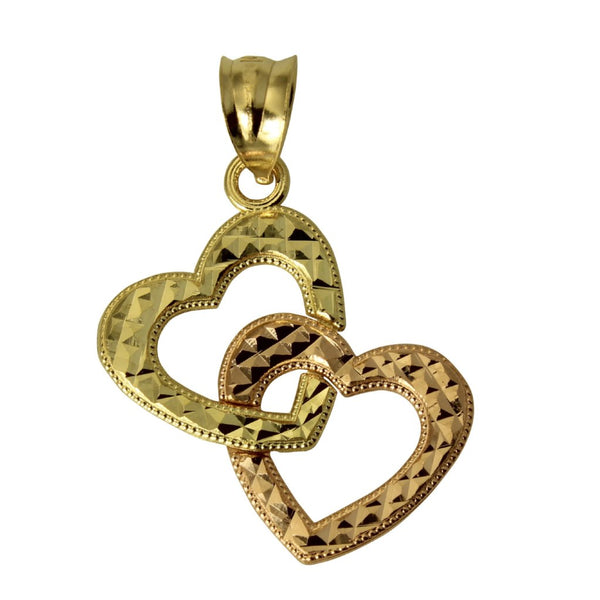 14K Real 2 Tone Yellow Rose Gold Double Heart Diamond Cut Small Charm Pendant