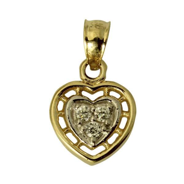 14K Real 2 Tone Yellow White Gold Heart Love Cubic Zirconia Tiny Charm Pendant
