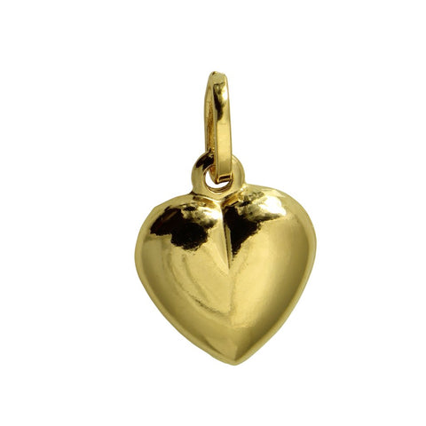 14K Real Yellow Gold Tiny Hollow Puffed Heart Love Charm Pendant
