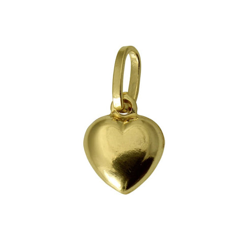 14K Real Yellow Gold Very Small Hollow Puffed Heart Love Charm Pendant