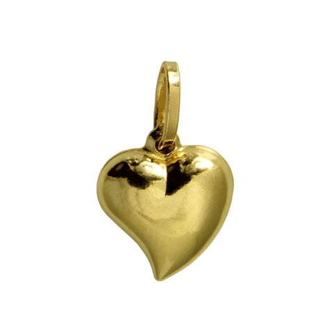14K Real Yellow Gold Very Tiny Hollow Puffed Heart Love Charm Pendant