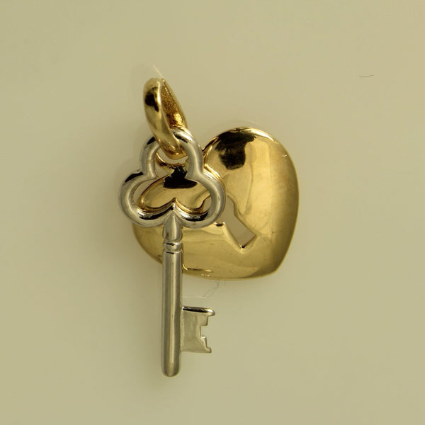 14K Real 2 Tone Yellow White Gold Key to My Heart Small Charm Pendant