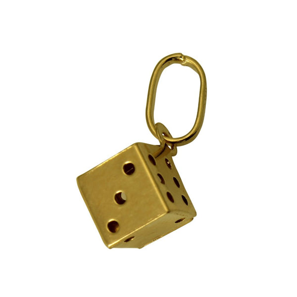 14K Real Yellow Gold 3D Hollow Puffed Very Tiny Dice Charm Pendant