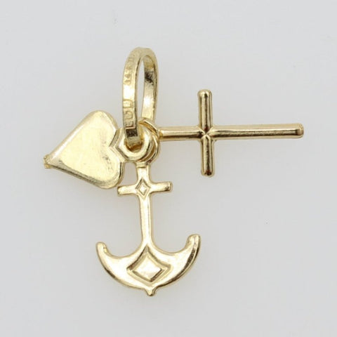 14K Real Yellow Gold Tiny Faith, Hope, and Charity, Heart Cross Anchor Tiny Charm Pendant for Children & Baby