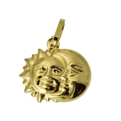 14K Real Yellow Gold Hollow 3D Puffed Small Sun & Moon Charm Pendant