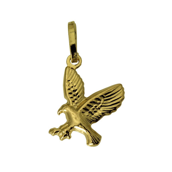 14K Real Yellow Gold 3D Puffed Hollow Small Eagle Charm Pendant