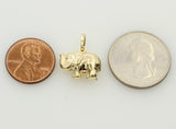 14K Real Yellow Gold Elephant Raised Trunk Hollow Puffed 3D Small Charm Pendant??
