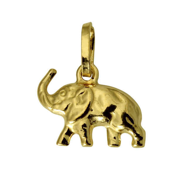 14K Real Yellow Gold Elephant Hollow Puffed 3D Small Charm Pendant