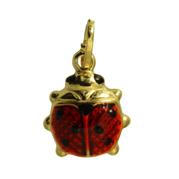 14K Real Yellow Gold Lady Bug Color Enamel Puffed Hollow 3D Small Charm Pendant for Children & Baby
