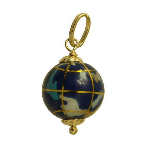 14K Real Yellow Gold Hollow Small Color Enamel Globe World Planet Earth 3D Charm Pendant