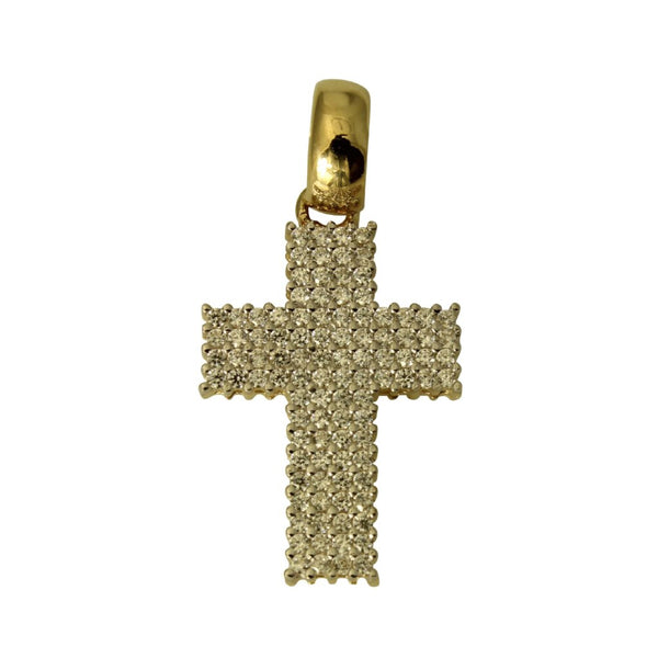 14K Real Yellow Gold Cubic Zirconia Fancy Cross Charm Pendant