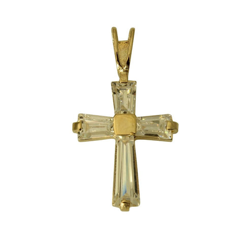 14K Real Yellow Gold Small Fancy Cross Charm Pendant Baguette Cubic Zirconia