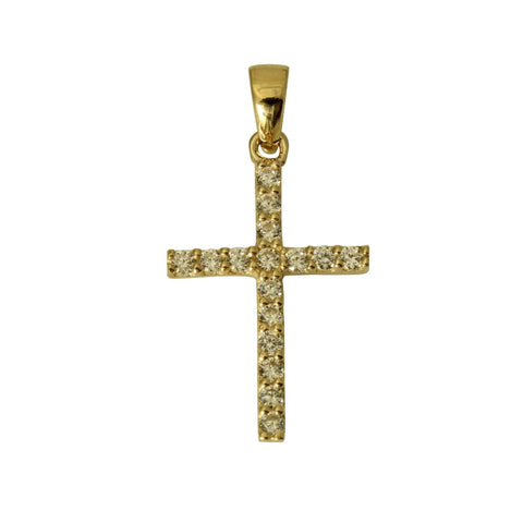 14K Real Yellow Gold Small Fancy One Row Line Cross Charm Pendant Cubic Zirconia