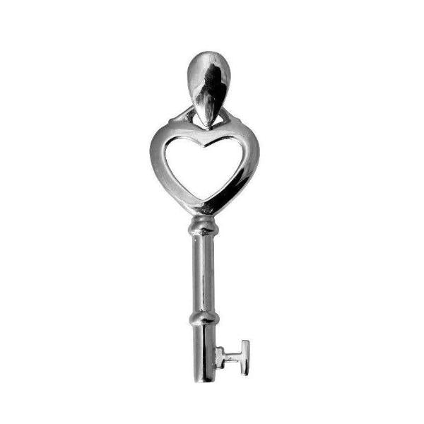 14K Real White Gold Key to My Heart Small Light Charm Pendant