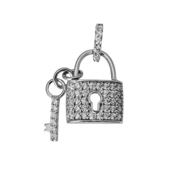 14K Real White Gold Small Fancy Key & Lock to my Heart Charm Pendant Cubic Zirconia