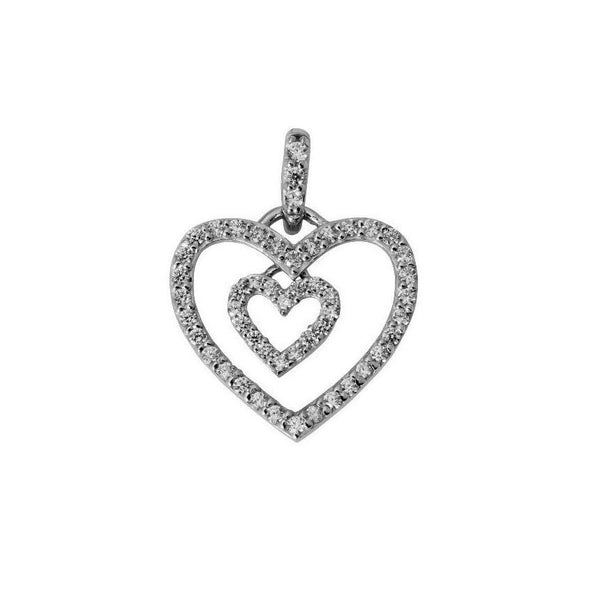 14K Real White Gold Tiny Fancy Dangle Double 2 Heart Shape Love Charm Pendant Cubic Zirconia