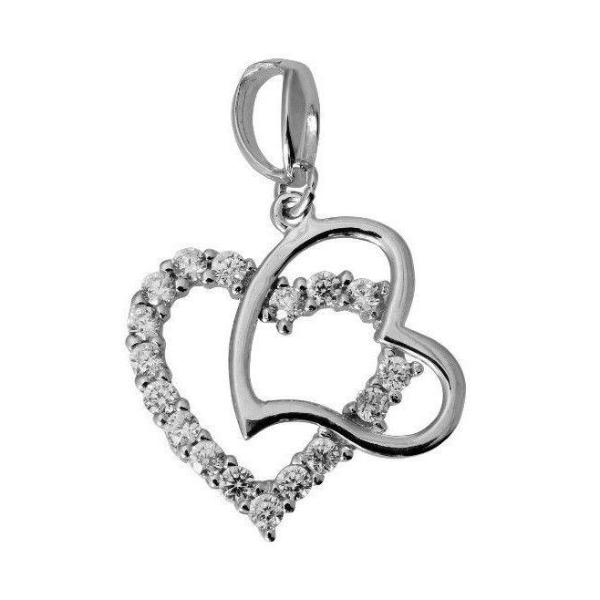 14K Real White Gold Small Fancy Double 2 Heart Shape Love Charm Pendant Cubic Zirconia