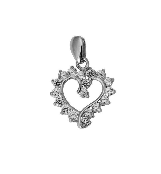 14K Real White Gold Small Fancy Heart Shape Love Charm Pendant Cubic Zirconia