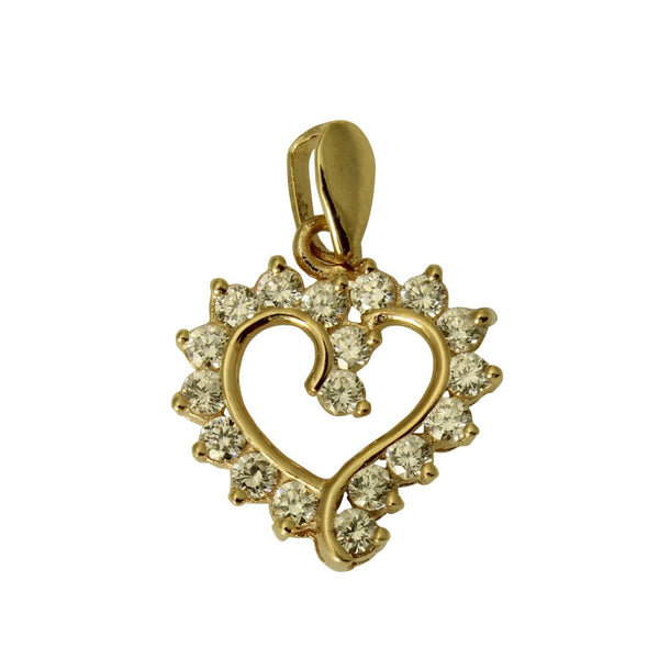 14K Real Yellow Gold Tiny Fancy Heart Shape Love Charm Pendant Cubic Zirconia??