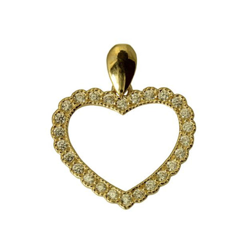 14K Real Yellow Gold Small Fancy Heart Shape Love Charm Pendant Cubic Zirconia??