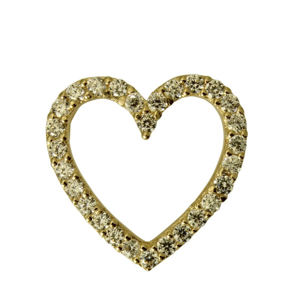 14K Real Yellow Gold Small Fancy Heart Shape Love Slider Pendant Cubic Zirconia