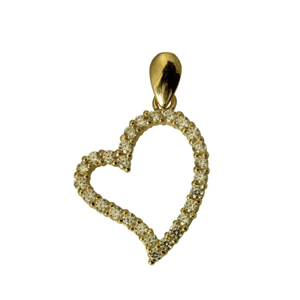 14K Real Yellow Gold Small Fancy Heart Shape Love Charm Pendant Cubic Zirconia