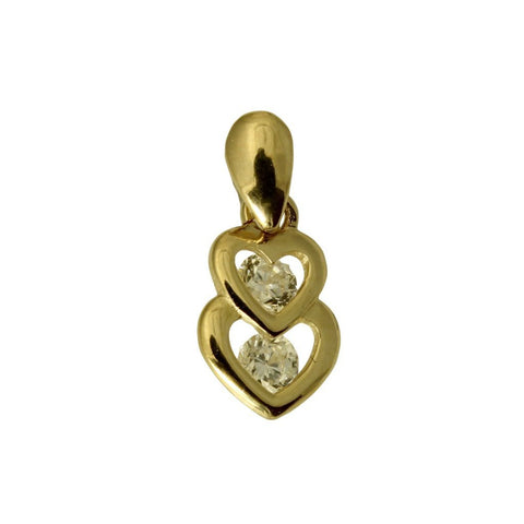 14K Real Yellow Gold Very Tiny Double 2 Heart Shape Love Charm Pendant Cubic Zirconia