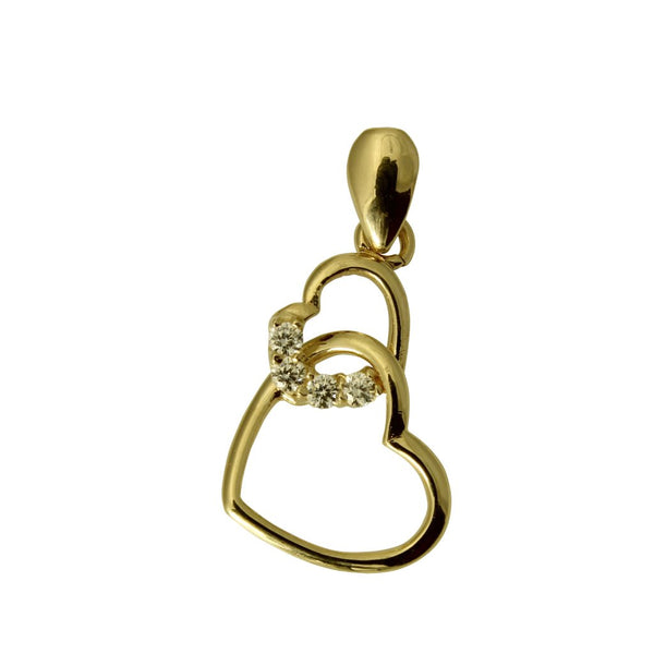 14K Real Yellow Gold Very Small Light Double 2 Heart Shape Love Charm Pendant Cubic Zirconia