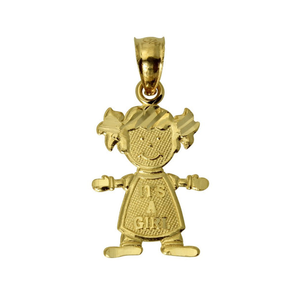 "14K Real Yellow Gold Small ""It's A Girl"" Diamond Cut Charm Pendant for Baby & Children"