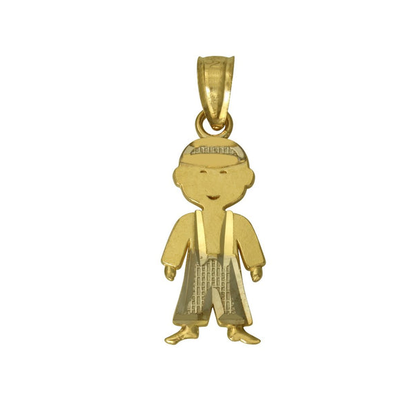 14K Real 2 Tone Yellow White Gold Diamond Cut Boy Small Charm Pendant for Teen and Children
