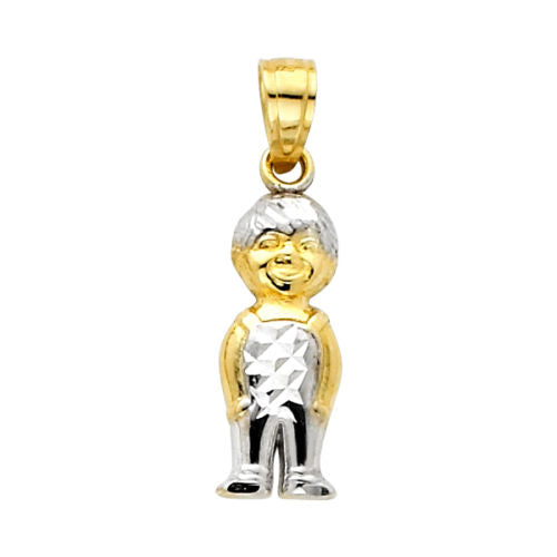 14K Yellow Tow Tone Gold Small Boy Charm Pendant for Teen and Children