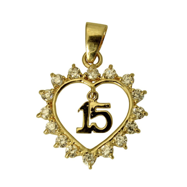 14K Real Yellow Gold Sweet 15 Anos Quinceanera Heart Small Charm Pendant Cubic Zirconia