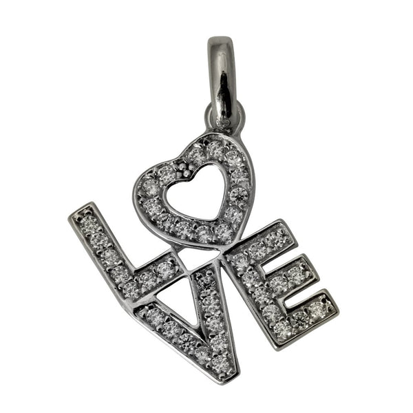 14K Real White Gold LOVE My Heart Tiny Charm Pendant Cubic Zirconia