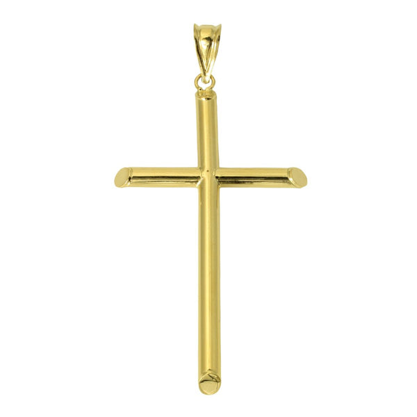 14K Real Yellow Gold Large Hollow Tube Cross Charm Pendant