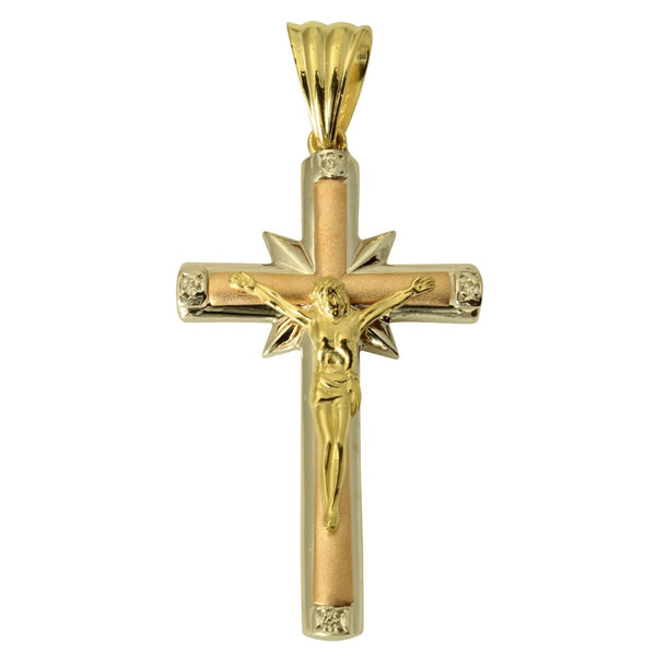 14K Real 3 Color Yellow White Rose Gold Fancy Jesus Cross Crucifix Cubic Zirconia Charm Pendant