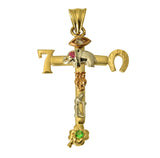 14K Real  3 Color Yellow White Rose Gold 7 Lucky Symbols Cross Cubic Zirconia Charm Pendant