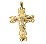 14K Real 3 Color Yellow White Rose Gold Fancy Jesus Cross Crucifix Diamond Cut Charm Pendant