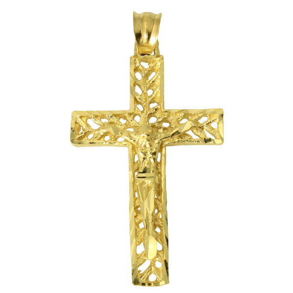 14K Real Yellow Gold Filigree Diamond Cut Jesus Cross Crucifix Pendant