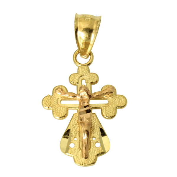 14K Real 2 Tone Yellow Rose Gold Fancy Jesus Cross Crucifix Small Charm Pendant