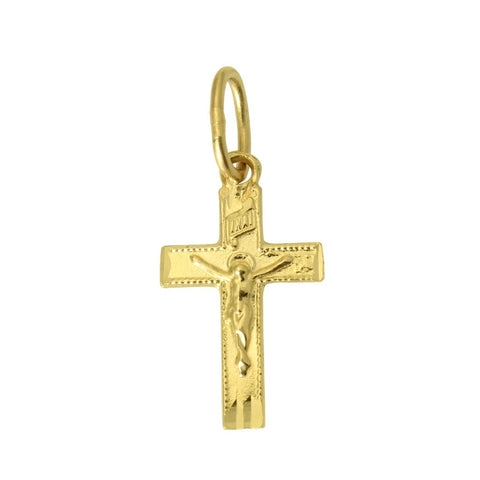 14K Real Yellow Gold Very Small Cross Crucifix Religious Charm Pendant for Baby Children