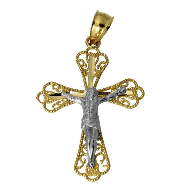 14K Real 2 Tone Yellow White Gold Fancy Jesus Cross Crucifix Small Charm Pendant