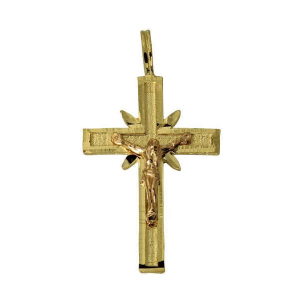 14K Real 2 Tone Yellow Rose Gold Cross Crucifix Religious Light Small Charm Pendant