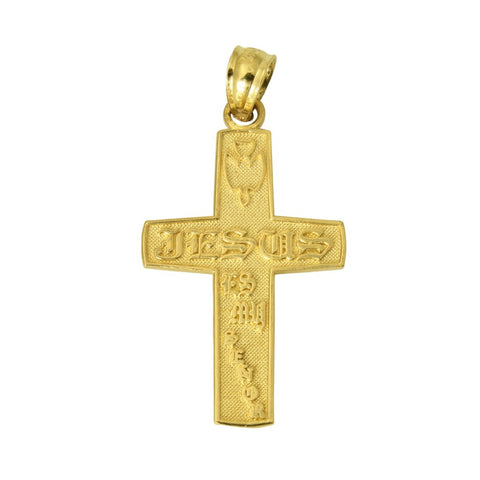14K Real Yellow Gold Jesus Es Mi Senor Cross Small Charm Pendant
