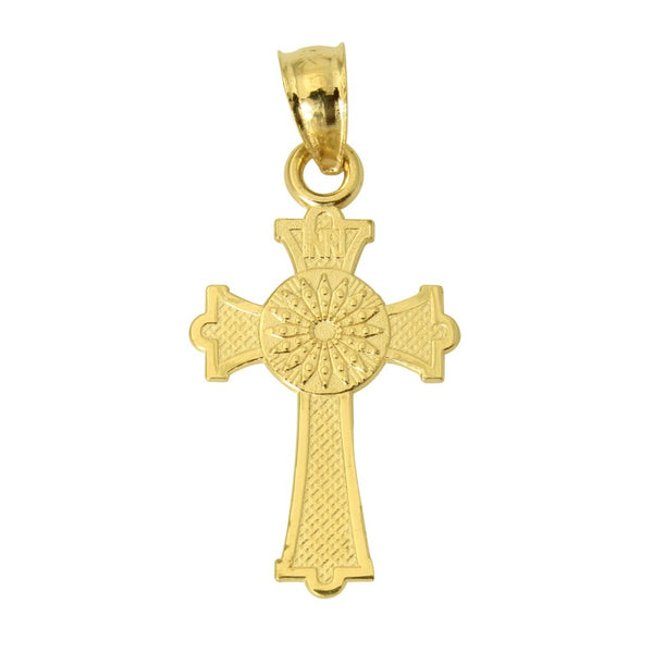 14K Real Yellow Gold Religious Cross Small Charm Pendant