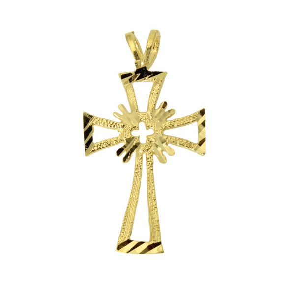 14K Real Yellow Gold Religious Cross Diamond Cut Small Charm Pendant