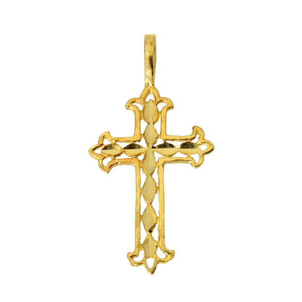 14K Real Yellow Gold Religious Cross Very Tiny Light Charm Pendant for Children & Baby