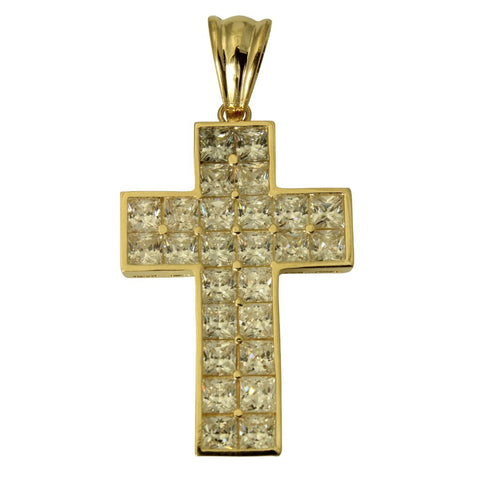 14K Real Yellow Gold Fancy Jesus Cross Cubic Zirconia Charm Pendant