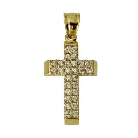 14K Real Yellow Gold Religious Fancy Cross Cubic Zirconia Small Charm Pendant